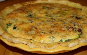 Bacon Cheddar Spinach Quiche with All Extra Virgin Olive Oil Crust